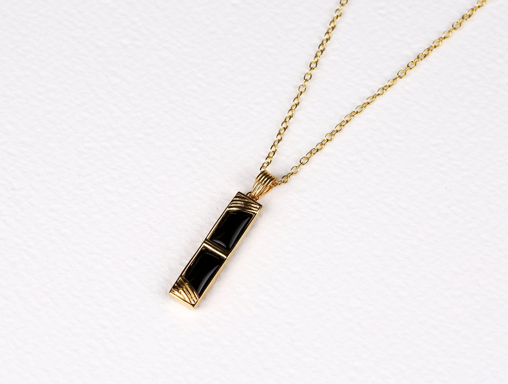 Double Small Rectangle Black Onyx Necklace       $133
