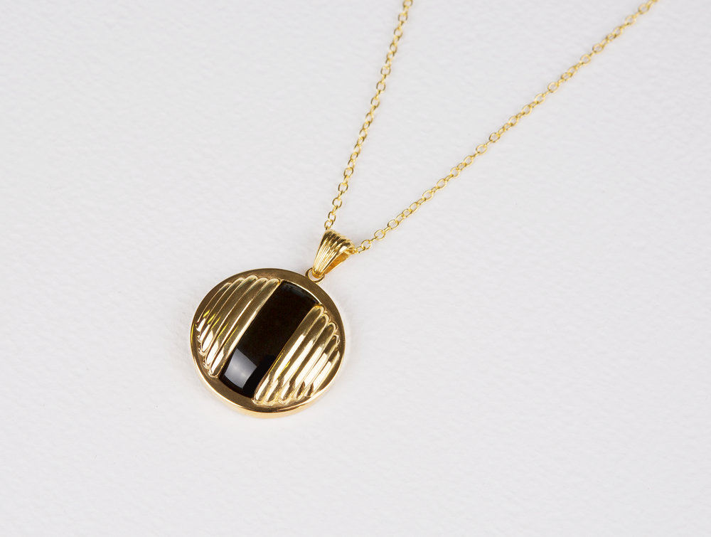 Circle Black Onyx Necklace       $163