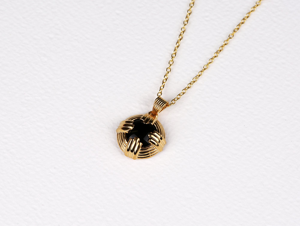 Pronged Circle Black Onyx Necklace       $140