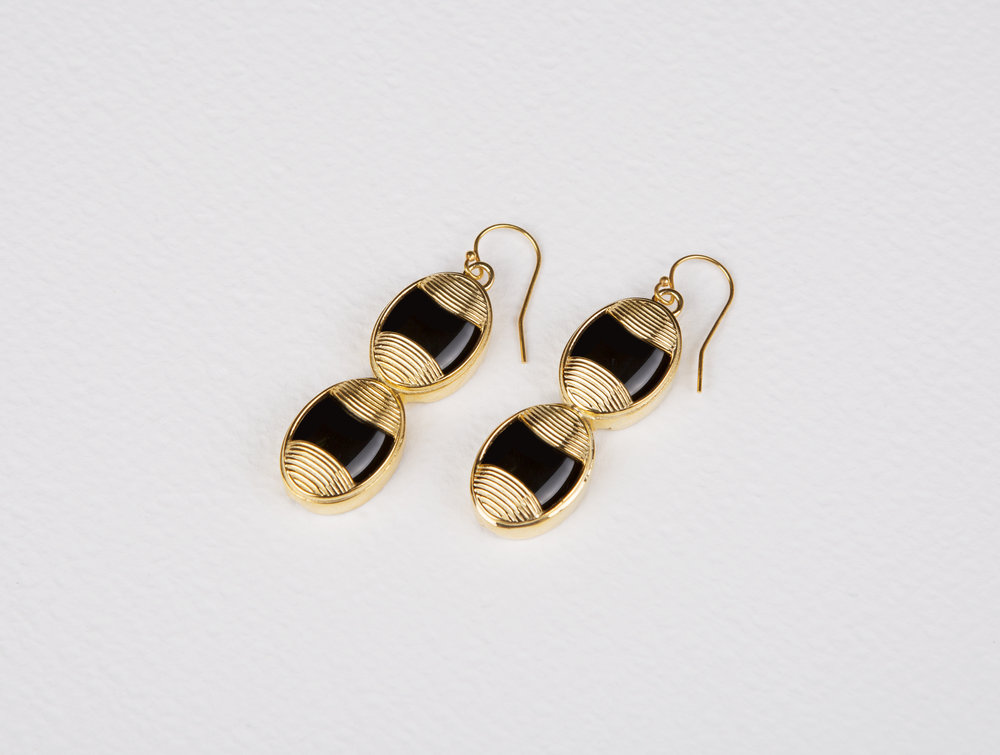 Double Oval Black Onyx Earrings       $167