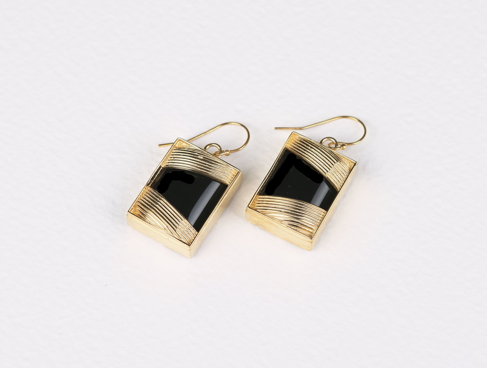 Square Black Onyx Earrings       $158