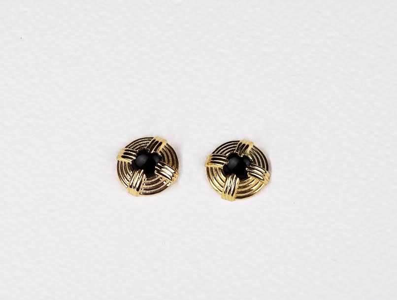 Pronged Circle Black Onyx Stud Earrings       $150