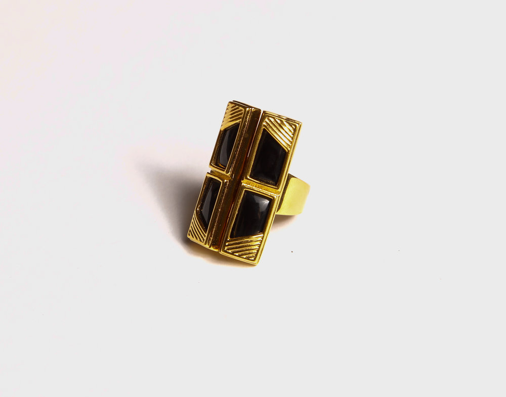 Four Small Rectangle Black Onyx Ring       $214