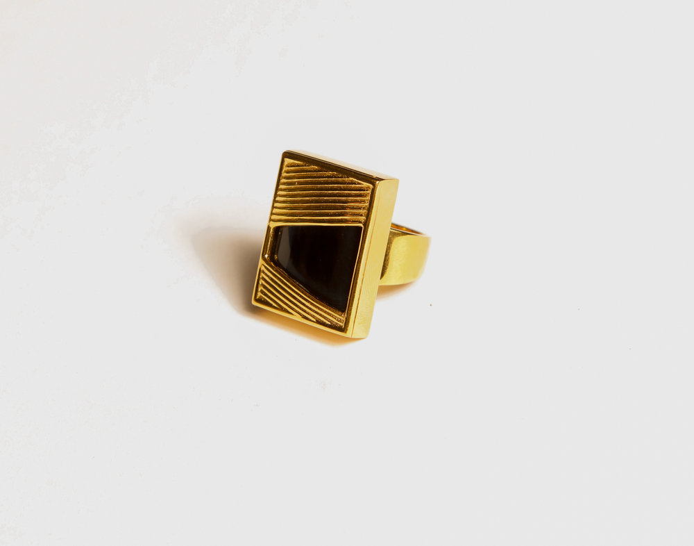 Square Black Onyx Ring       $187