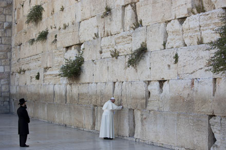 Pope Francis at the Western Wall in Jerusalem.