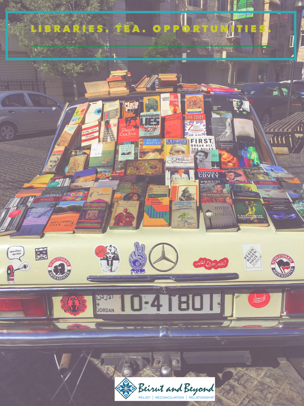 Portable books on the streets of Amman, Jordan. Books everywhere!
