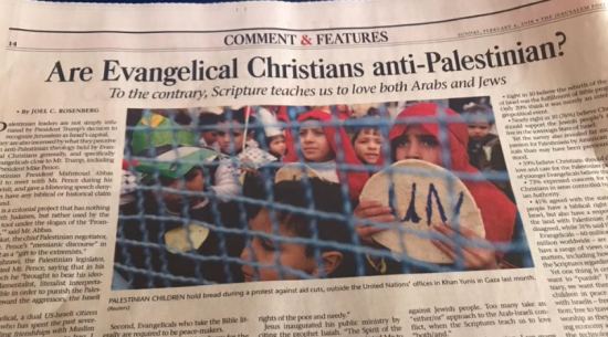 Evangelicals Desire to Love and Care for Palestinian