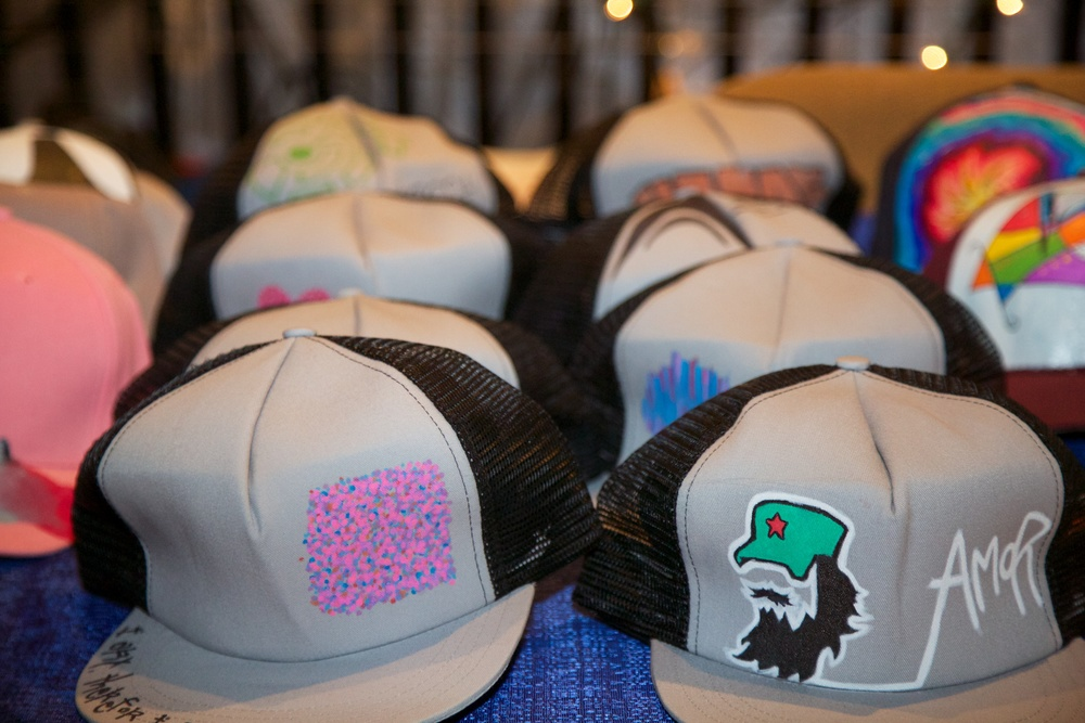 Custom hats were for sale at the event.