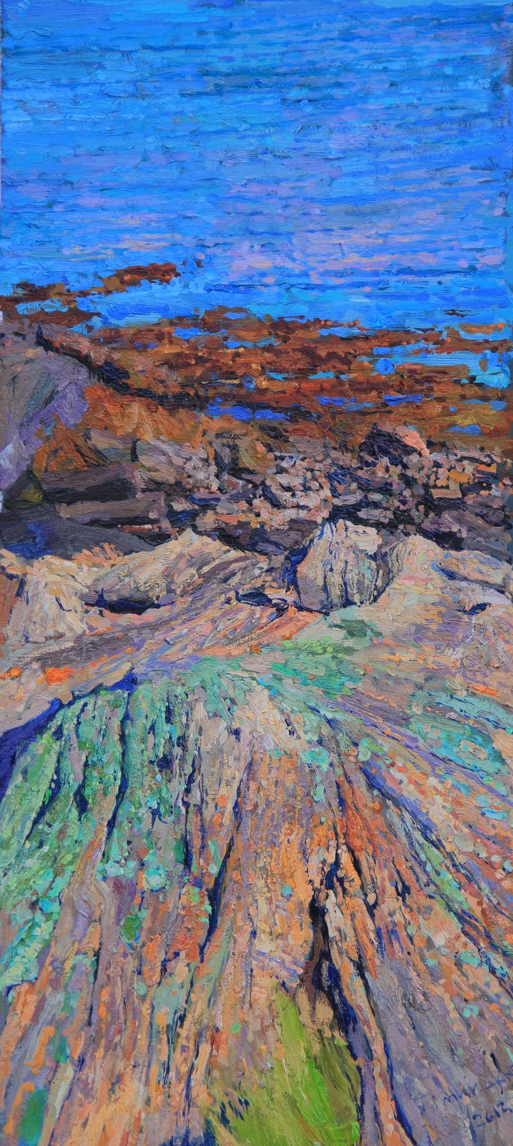 Timur Akhriev  Title: Dragon Point, Westport Island ME  10'' x 22''Oil on Board, 2012. Sold Through: Gallery Russia.