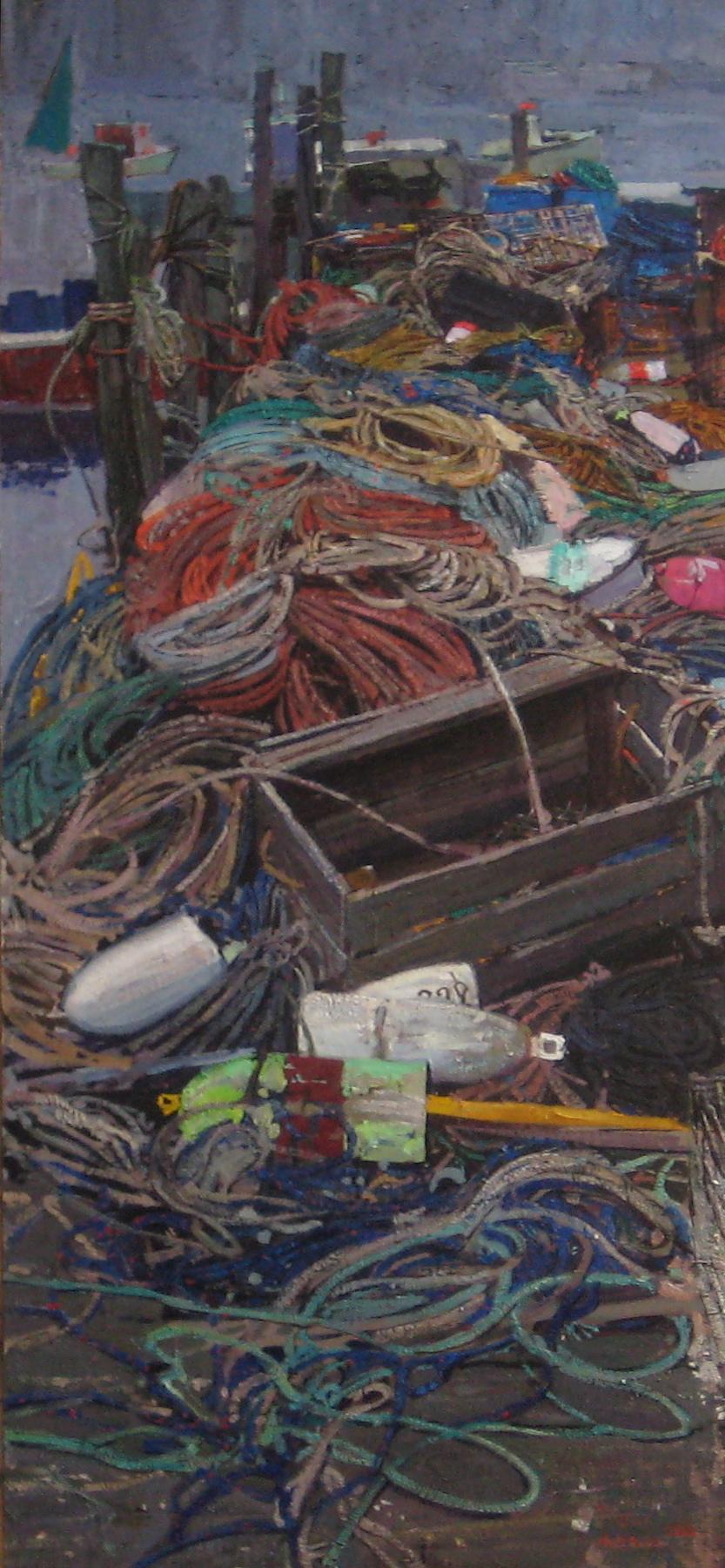 Timur Akhriev  Title: Tangled  6'' x 20'' Oil on Board, 2008. Sold.