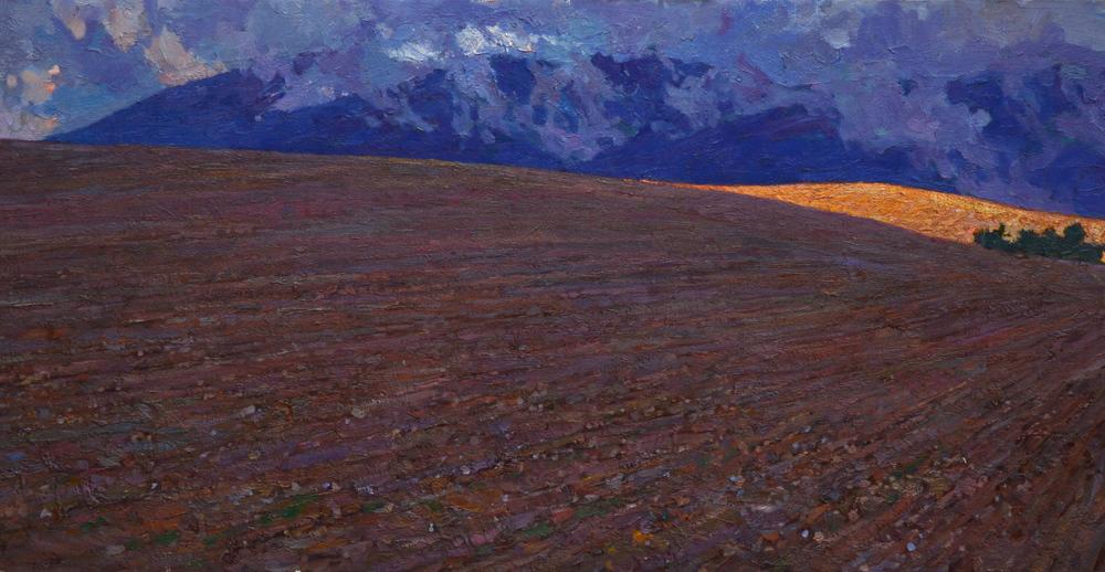 "Timur Akhriev  Title:Sunspot in Spain  15"" x 27.5'' Oil on LInen. 2013. Unframed $3900"