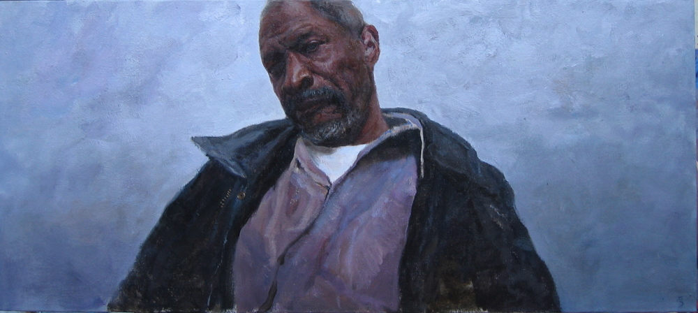 "Timur Akhriev  Title: Pensive   25"" x 40""  Oil on Linen. 2005. Sold."