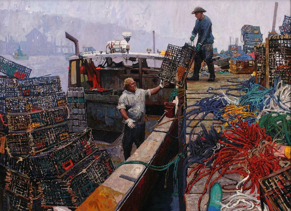 "Timur Akhriev  Title: Last Load  22"" x 30""  OIl on Board. 2010.  Sold."