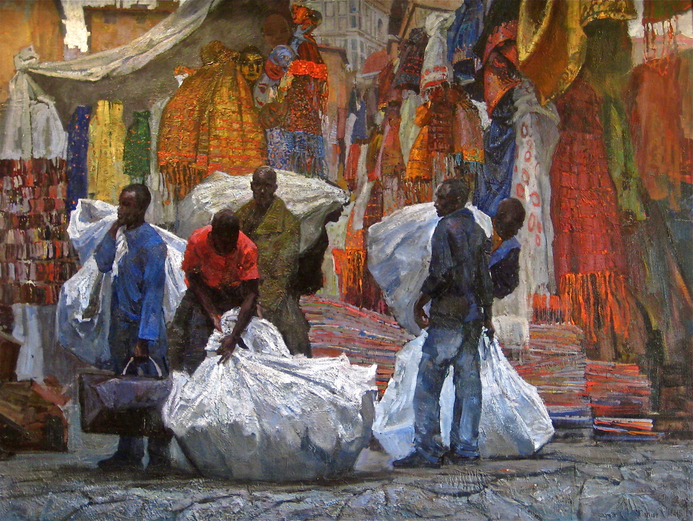 "Timur Akhriev  Title: African Vendors  On the Streets Of Florence.  47, 2/8"" x 62, 3/4"". Oi lon Linen. 2007. Sold."