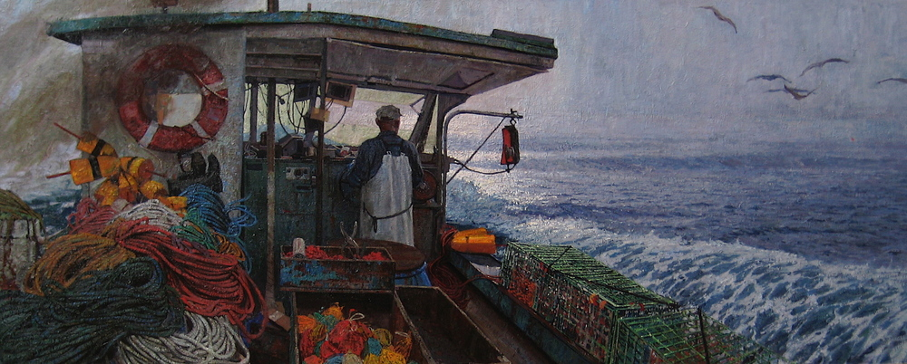 Timur Akhriev  Title:Into the Open  34 x 84,5 OIl on Linen. 2010. Sold.
