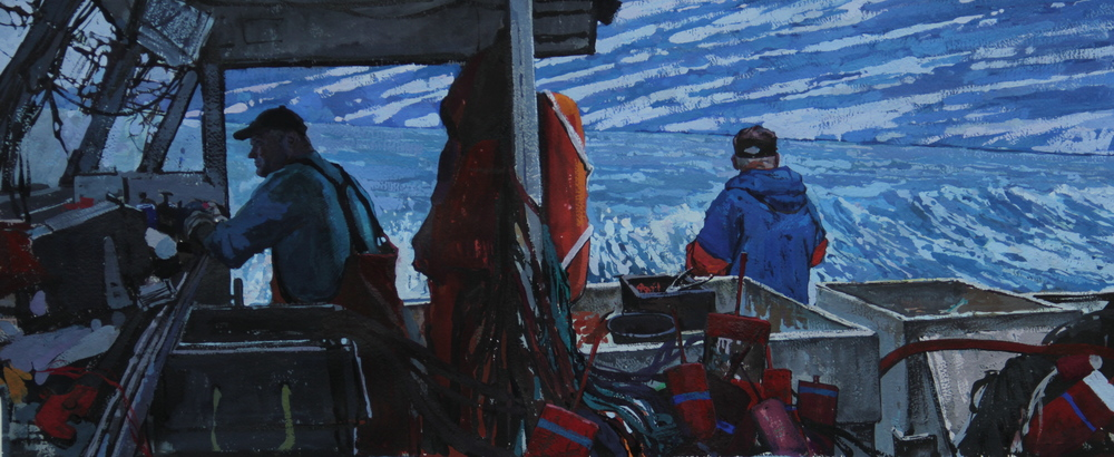 """Timur Akhriev  Title:The Ties that Bind  13"""" x 30.25"""" Gouache on Watercolor Paper, 2013, Sold"""
