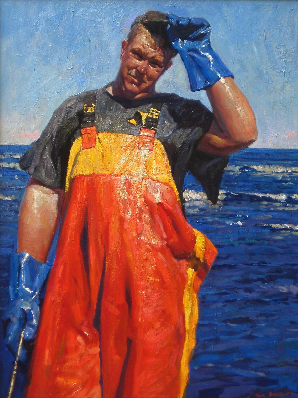 "Timur Akhriev  Title:Work Day 18"" X 24"" Oil on Board. 2010. Sold."