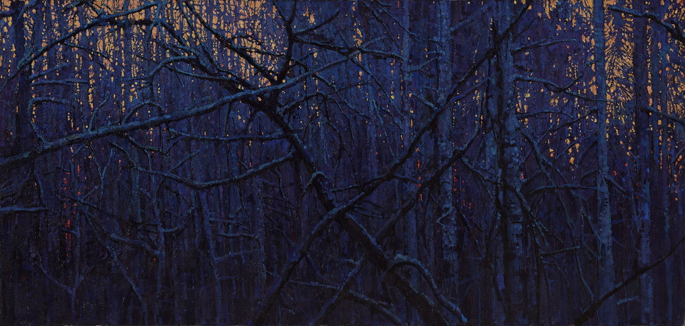 """Timur Akhriev  Title: Winter Forest  22,75"""" x 48""""Oil on Linen. 2013  Sold though: Lovetts Gallery"""