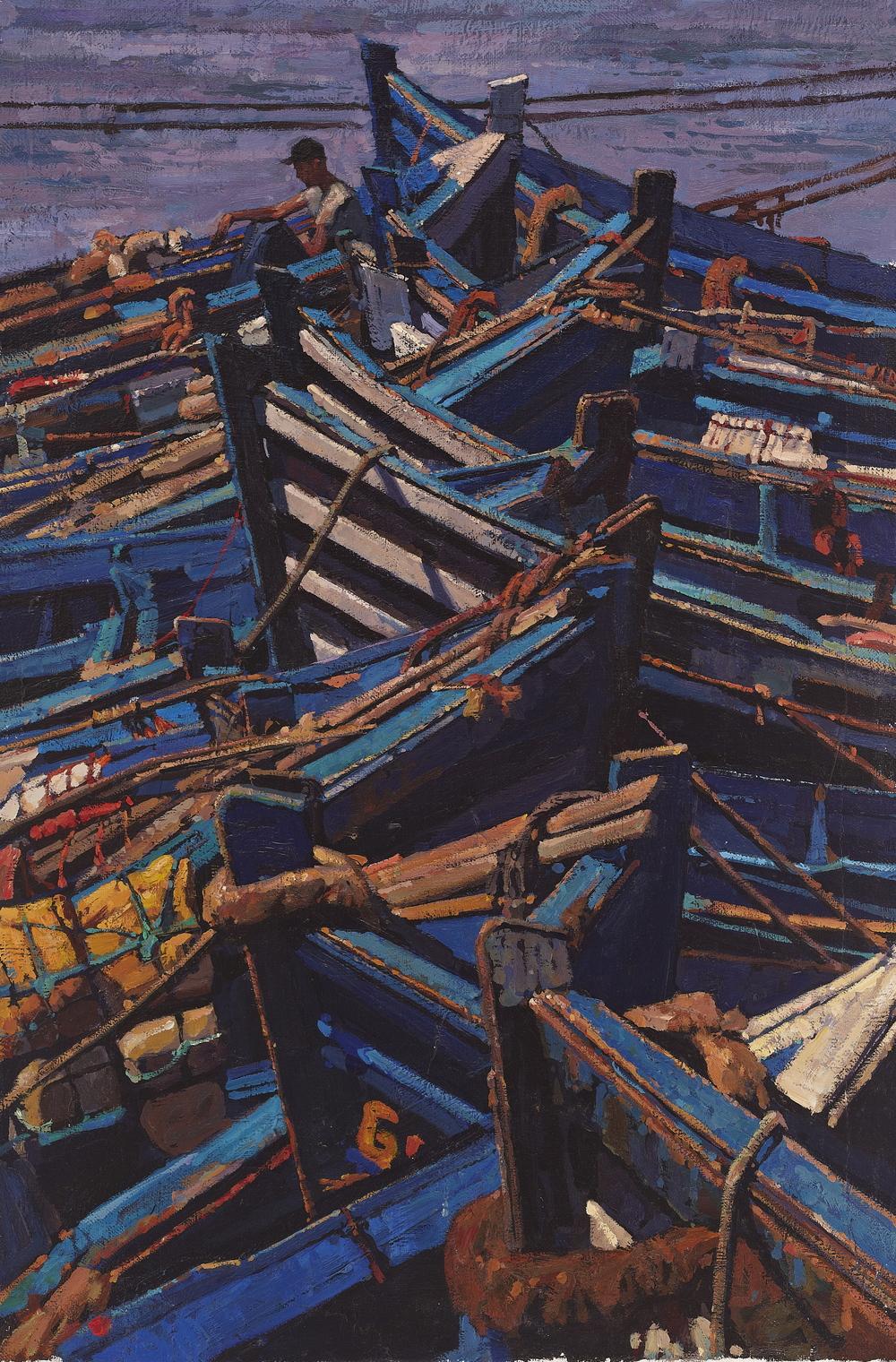"Timur Akhriev  Title: Blue Number 2  20"" x 30"", Oil on Linen, 2014.Sold"