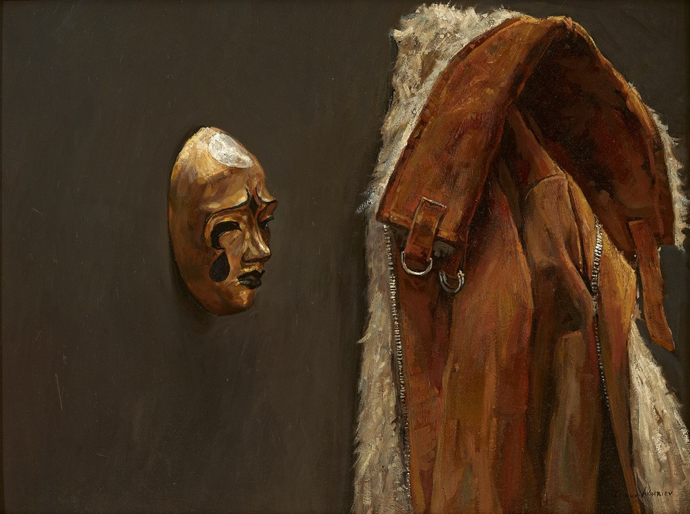 """Timur Akhriev  Title: The Mask and the Jacket  18"""" x 24"""" Oil on Panel. Framed, Sold"""