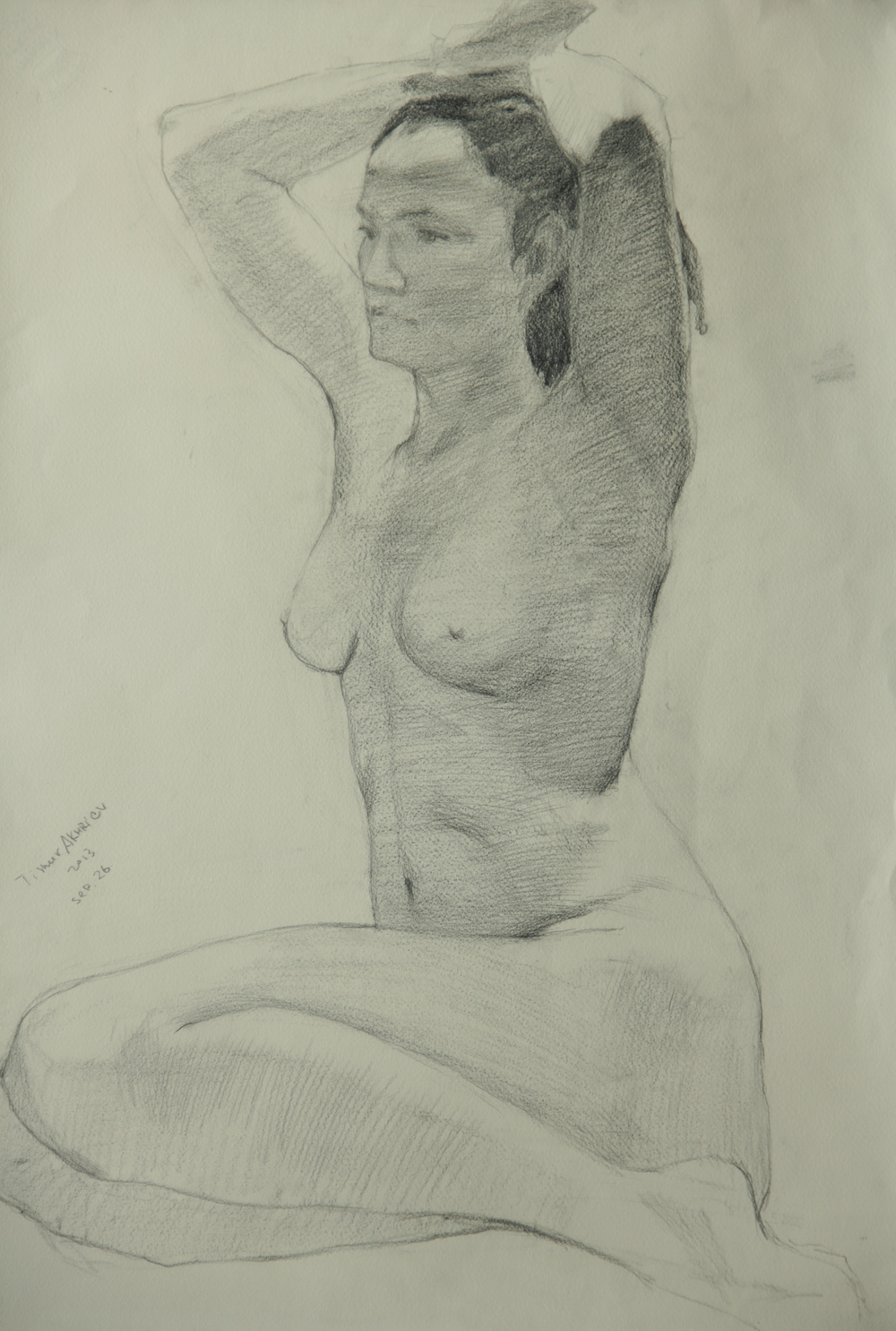 "Timur Akhriev Title: Nude With Raised Hands  19,5"" 27"", Graphite on Paper, 2013.   $1300"