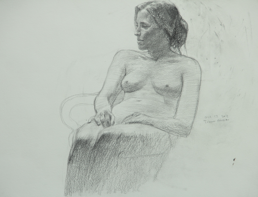 "Timur Akhriev Title: Nude in Three Quarters  14,75"" x 17"", Graphie on Paper, 2013.   $550"