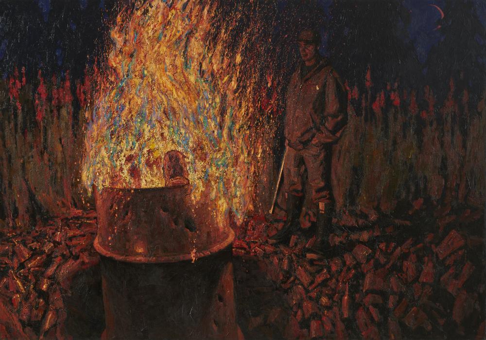 "Timur Akhriev Title: Bear Terretory Trash Burning Size: 51"" x 73"" Oil on Linen. Year:2014. Sold, Through Lovetts Gallery"