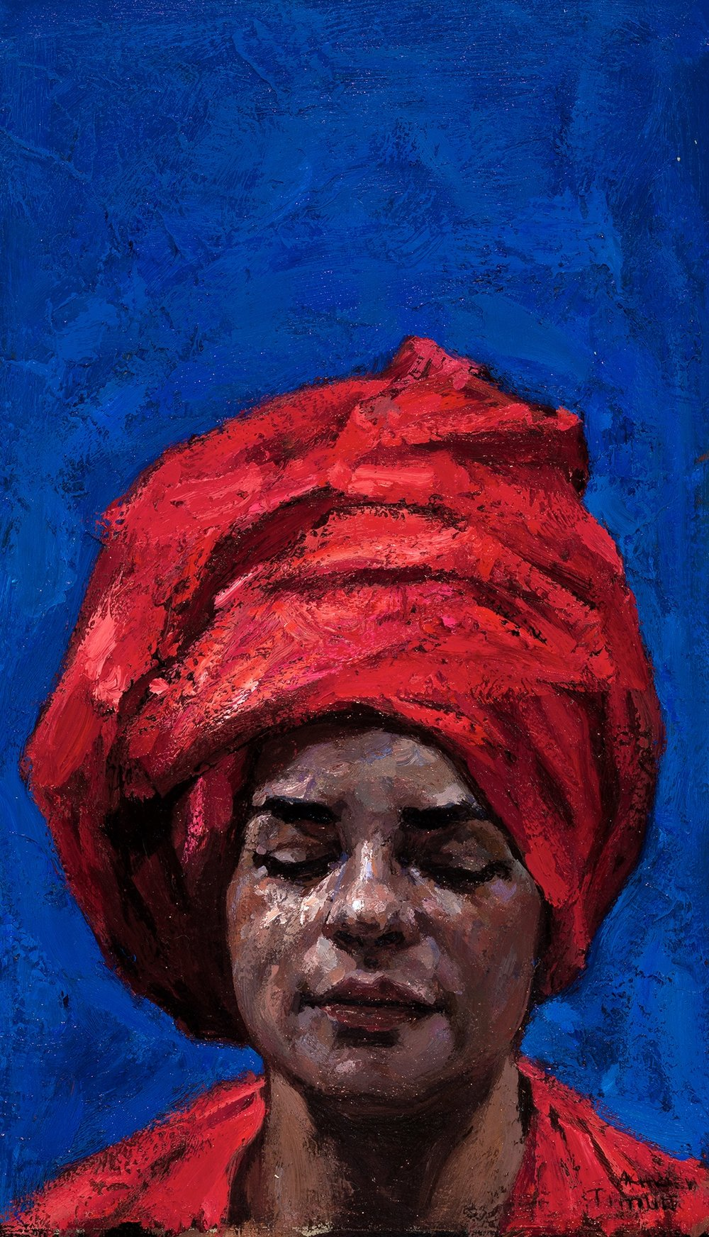 Timur Akhriev Title: Blue and Red, but mostly Blue Size: 6 x 9,75 Oil on Linen Panel Price, Reatil, Framed: $1200. Year: 2016  Available through: Paul & Scott Gallery