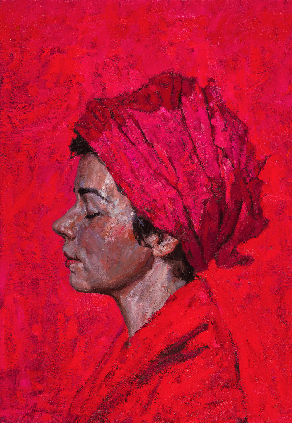 """Timur Akhriev Title: Red on Red Size: 14"""" x 20"""" Oil on Linen  Sold, Through Paul & Scott Gallery"""
