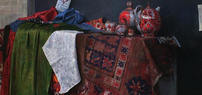 Timur Akhriev.  Title:Still life With Russian Tea Pots  Sold