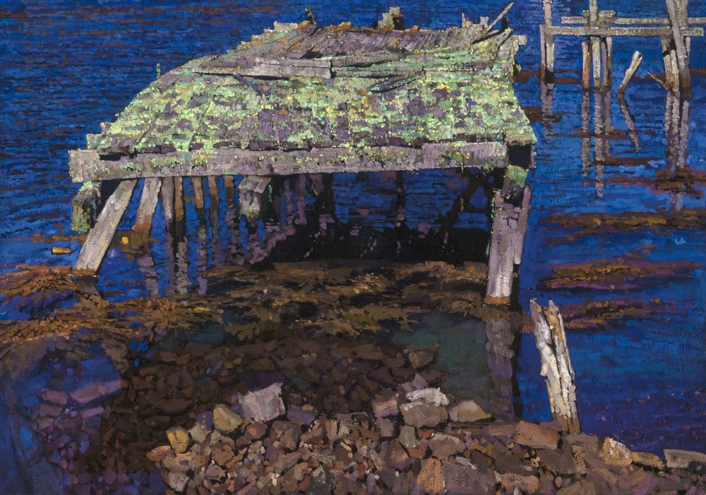 """Title: Ghost Dock Size: 25,25"""" x 36"""", Oil on Linen, Year: 2017.  Sold"""
