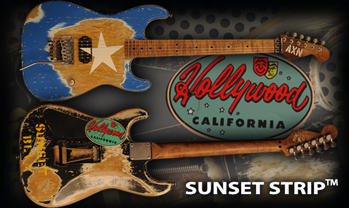 AXN™ Sunset Strip™with an officially licensed Stratocaster® headstock
