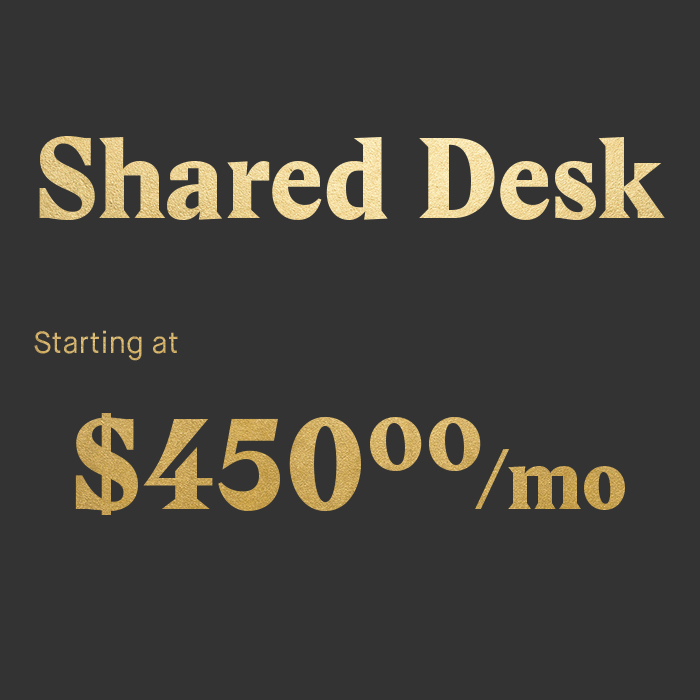 Community first Shared desk with other entrepreneurs like you Unlimited events access Printing & office supplies  Conference rooms allowance 24/7 access to the office with smartphone key Mail collection Tech support & exclusive resources