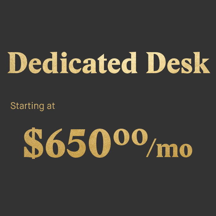 Community first Super sturdy, money making dedicated desk and lumbar-tastic chair Unlimited events access Printing & office supplies  Conference rooms allowance 24/7 access to the office with smartphone key Mail collection Storage room space Tech support & resources