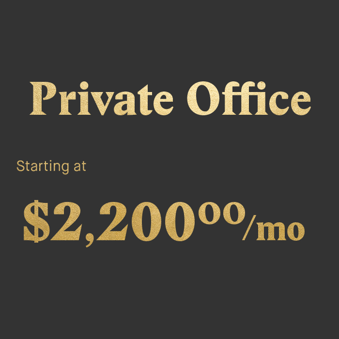 Community first Private office in various sizes Super sturdy, money making dedicated desk and lumbar-tastic chair Unlimited events access Printing & office supplies  Conference rooms allowance 24/7 access to the office with smartphone key Mail collection Storage room space Tech support & resources