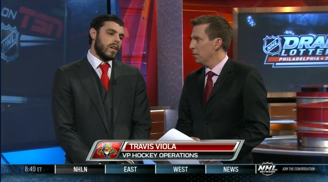 Travis talking to TSN shortly after the Panthers won the first overall pick in the 2014 NHL Draft Lottery,