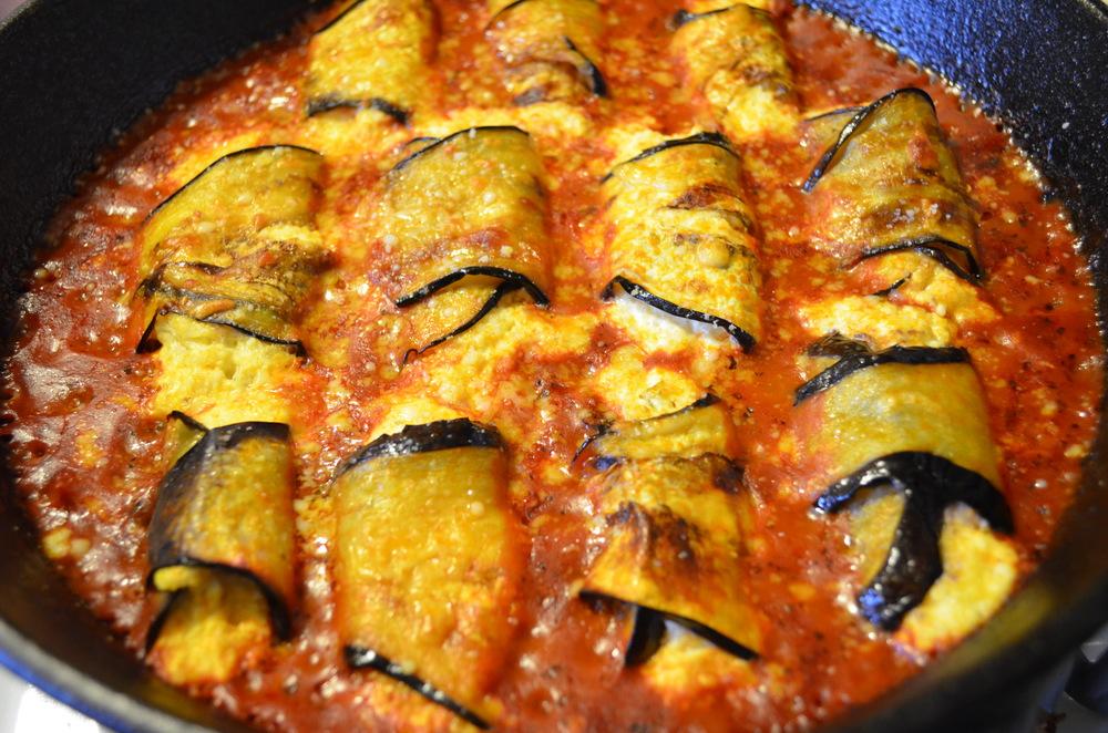 Ricotta and Lemon Stuffed Eggplant Rolls