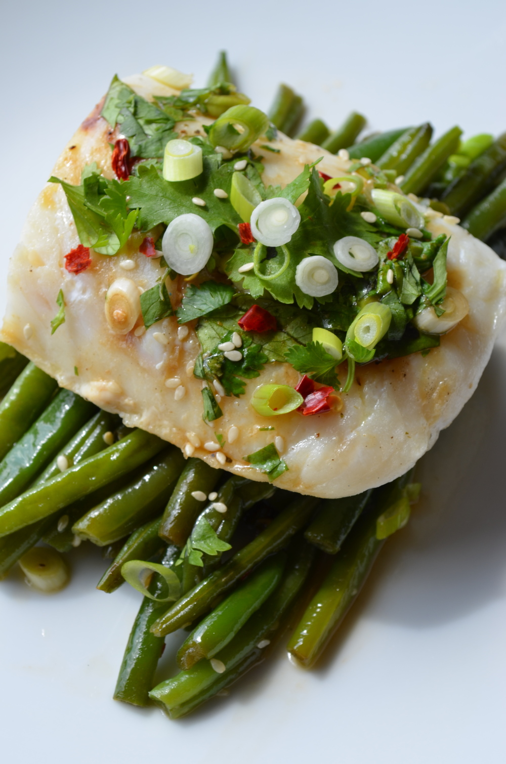 Pan Roasted Cod with Asian Green Beans