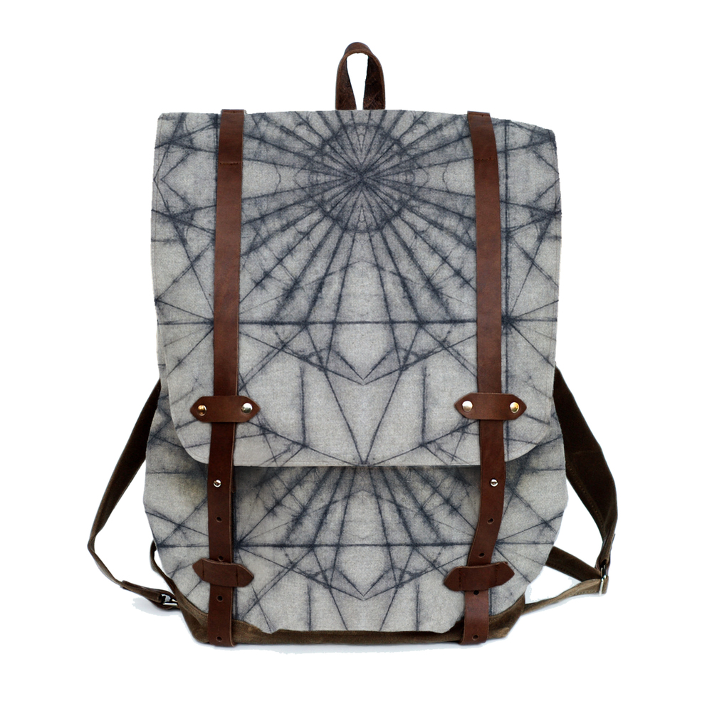 Waxed Batik canvas knapsack