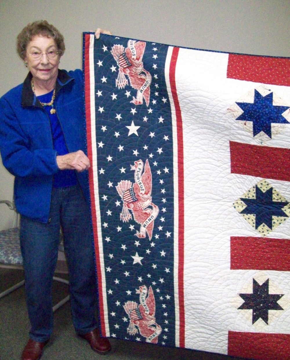 Hattie Geisel with the quilt