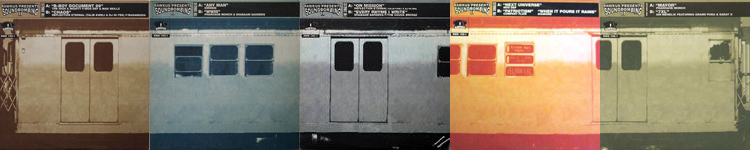 "Five 12"" singles from Soundbombing 2 released as a collectable ""train car"" series."