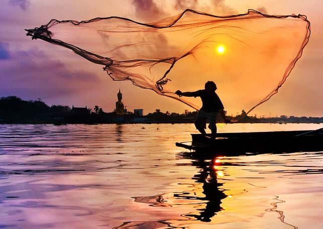 Fisherman Casts His Net -