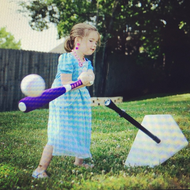 Don't all kids play T-ball in full princess dresses and jewelry?!