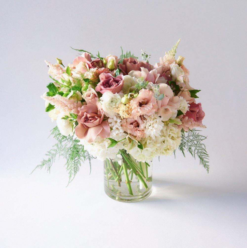 - Hydrangeas, Hyacinth, Plumosa, Roses, Ranunculus,Astilbe &Acacia -