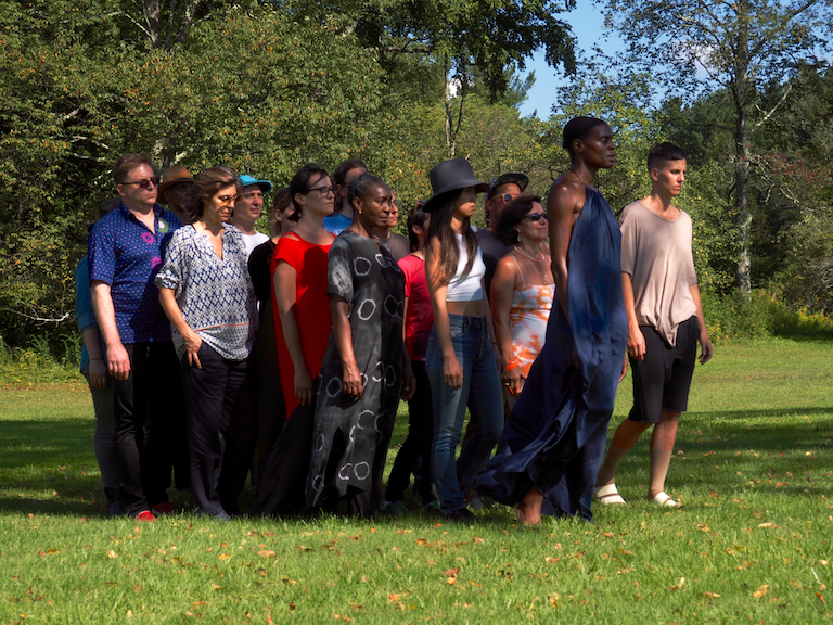 Still from collective embodied practice workshop at Denniston Hill with Okwui Okpokwasili. Photo Credit Timothy Gerken