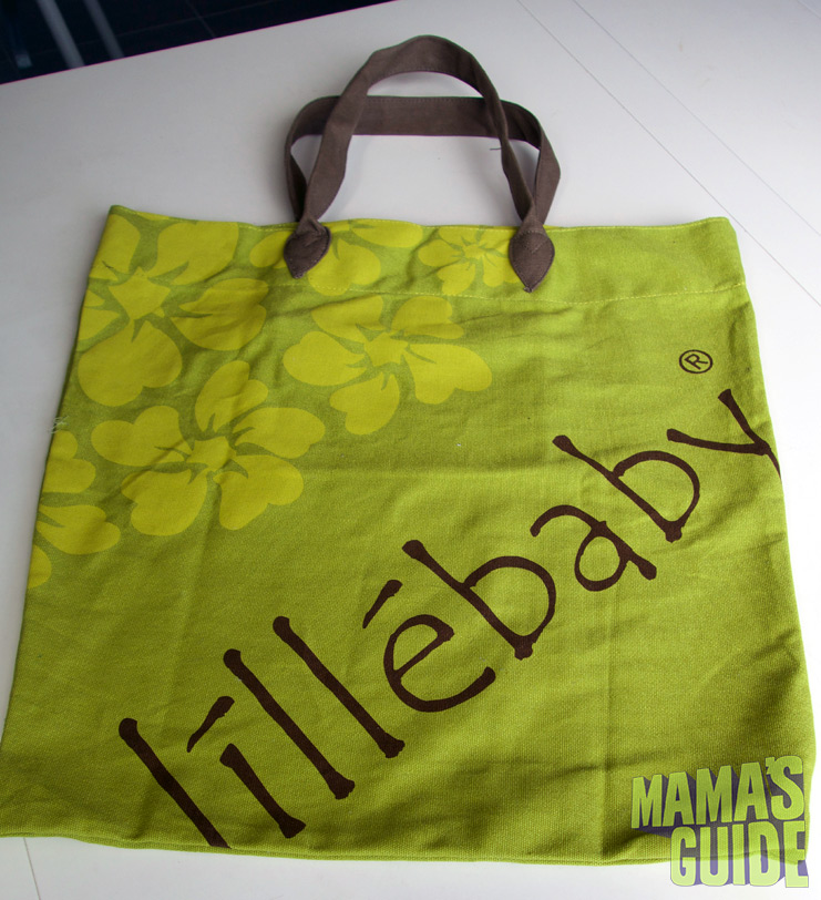 An oversized Lillebaby tote bag