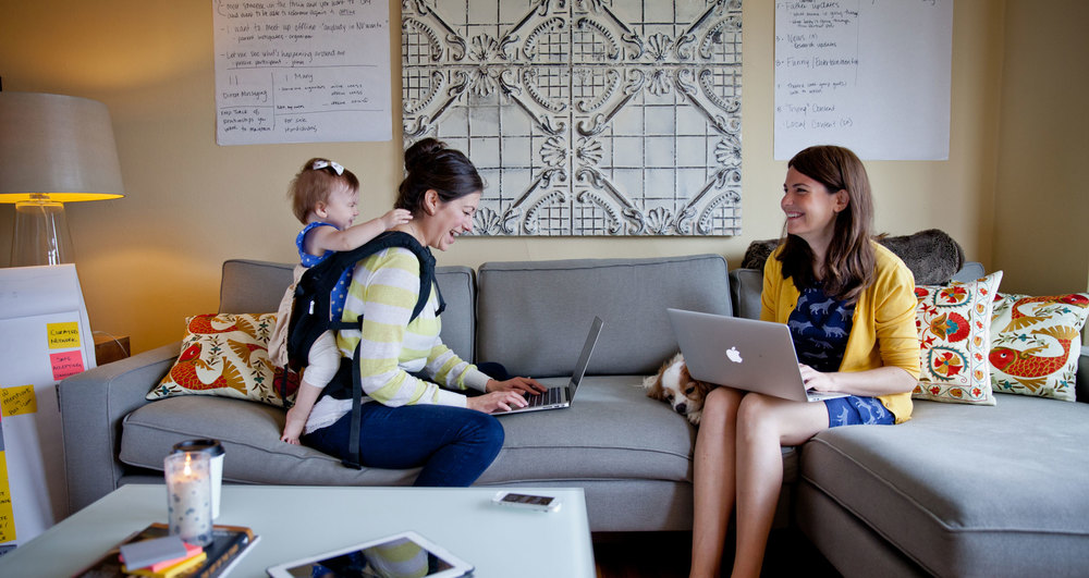 Jeni (left) with baby genevieve and Parenthoods co-founder siobhan