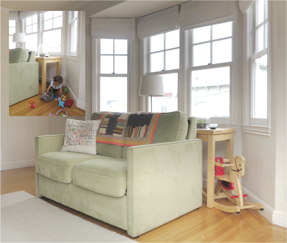 A sofa table behind the couch frees up valuable floorspace for playtime! (PHOTO COURTESY BARB ALVARADO/MONT+MERK)