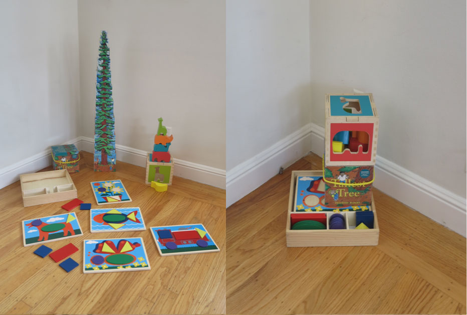 These toys—Tallest tree stacking puzzle; Melissa & Doug Beginner Pattern blocks; (Sadly the Dwell Studios Animal shape sorter is no longer in production)—make a big footprint but all collapse into much smaller packages for storage. (PHOTO COURTESY BARB ALVARADO/MONT+MERK)