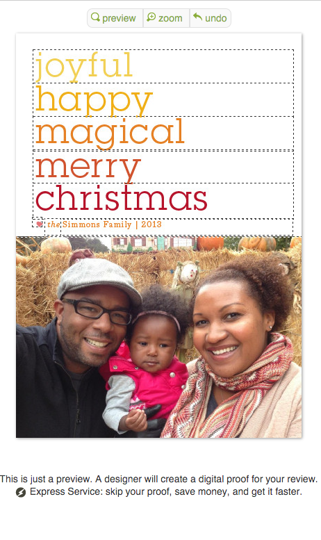 Our 2013 card, featuring a cute picture from the Mia's first trip to the pumpkin patch!